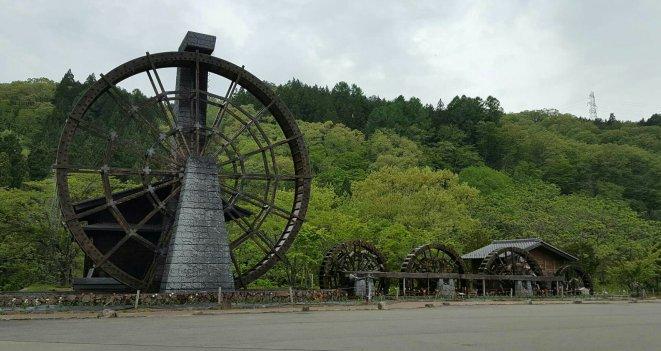 Five water wheels in Shokawa