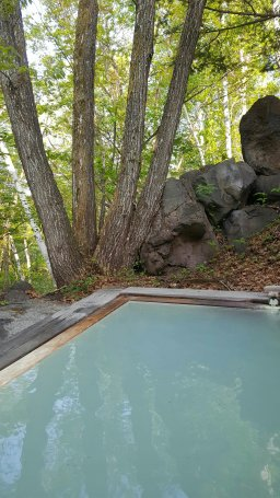 Outdoor onsen at the guesthouse