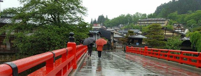 Julie and Manja walking across Nakabashi Bridge