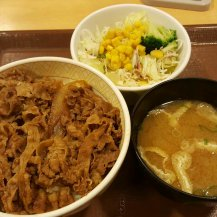 The humble beef bowl is a cheap and easy meal, under 400 yen ($5 AUD)