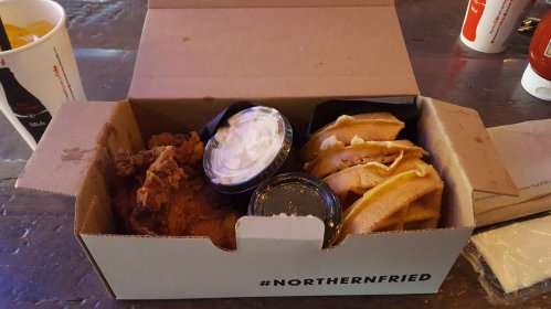 Waffles, fried chicken and maple syrup from the Dirty Bird in Toronto