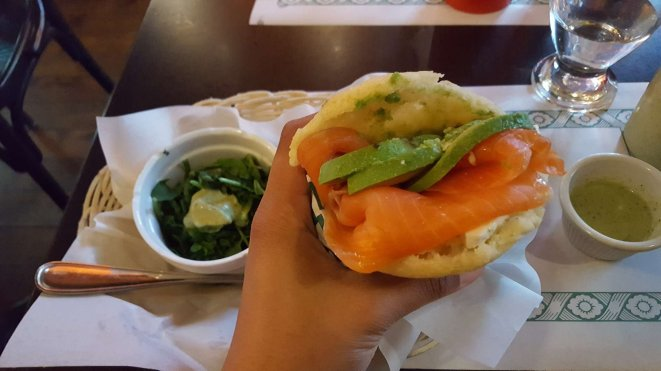 Salmon and avocado filled arepera (Venezuelan bread made from corn) at Arepera in Montreal